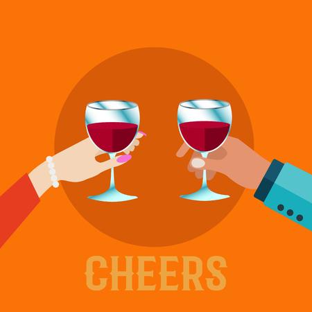 Couple holding wine glasses, wine tasting wine tasting vector illustration Illusztráció