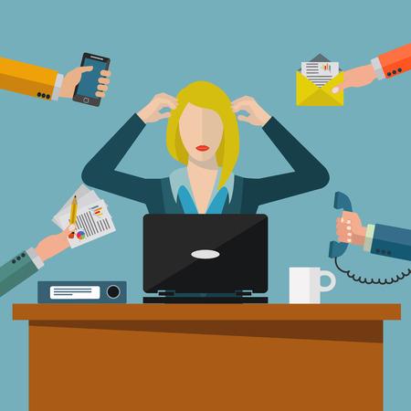 Overworked business woman, work enviroment stress vector illustration