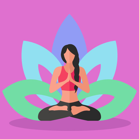 inner peace: Woman doing yoga lotus position, inner peace vector concept Illustration