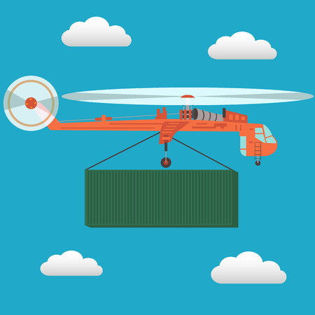 54: Large transport helicopter CH-54 carrying a cargo container flying in the sky vector illustration
