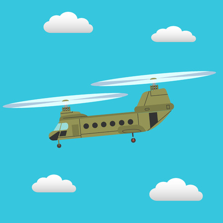 Chinook transport helicopter flying in the sky vector illustration Illustration