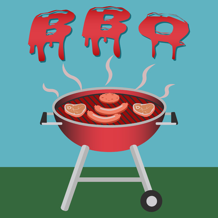 Barbecue grill with steak, sausages and burger coocking vector concept