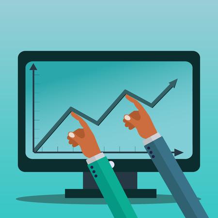 Businessmen holding a graph up for profit on the screen, big business vector concept Illusztráció