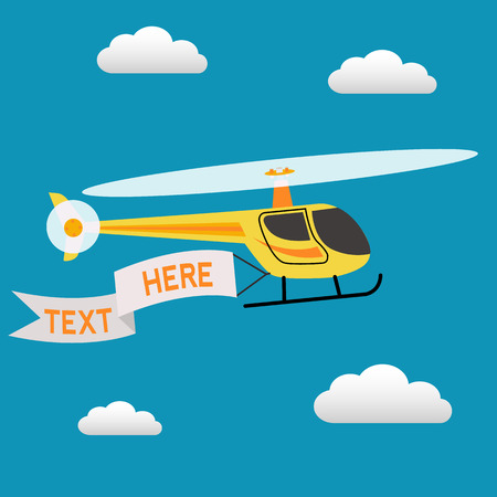 Helicopter flying in the sky with a banner for text vector marketing concept