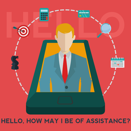 business help: Mobile phone business assistant app, business help vector concept