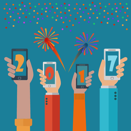 New year 2017 mobile phone apps vector concept