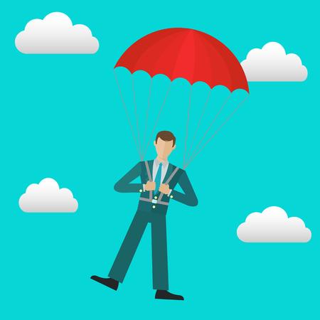 Businessman with parachute in the sky safety business vector concept Illusztráció