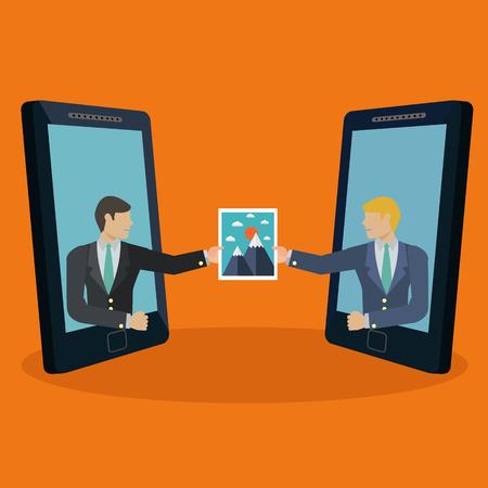 send: Businessmen sharing an image photograph via mobile phones vector concept