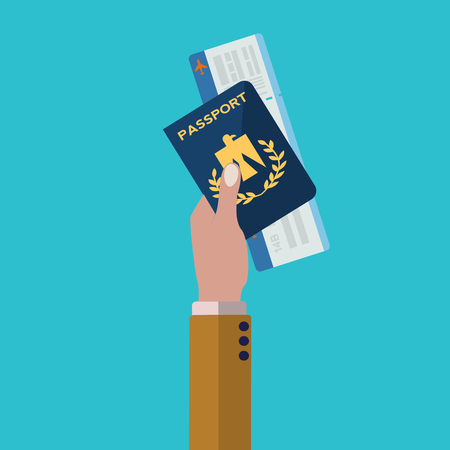 Hand holding passport and plane ticket, ready for travel vector concept Illustration