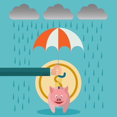A businessman with umbrella protecting his piggy bank, saving money for the storm, business vector concept Illusztráció
