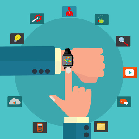 Smart watch on hand opening variety of applications vector concept