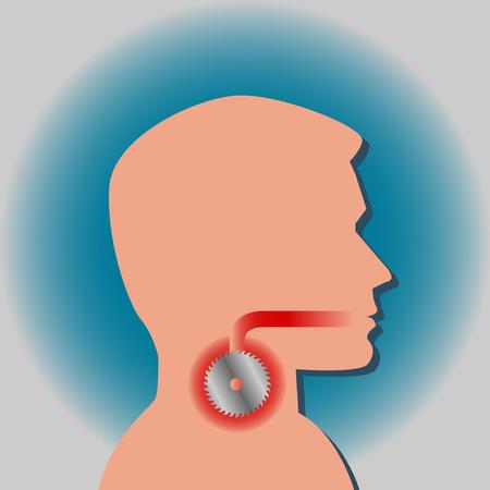 Maux de gorge se sent comme une lame de scie dans l'infographie de vecteur de la gorge