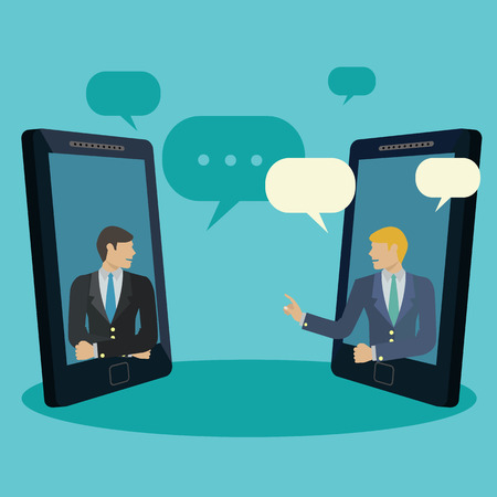 Businessmen holdine a video conference via mobile phones, video chat vector concept