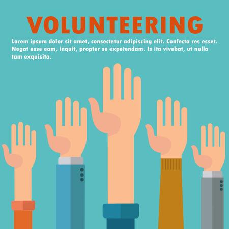 Raised hands volunteering vector concept Illusztráció
