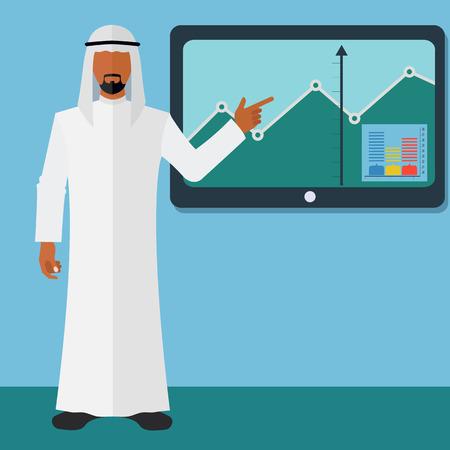 Arab businessman business presentation on a TV screen vector illustration Illusztráció