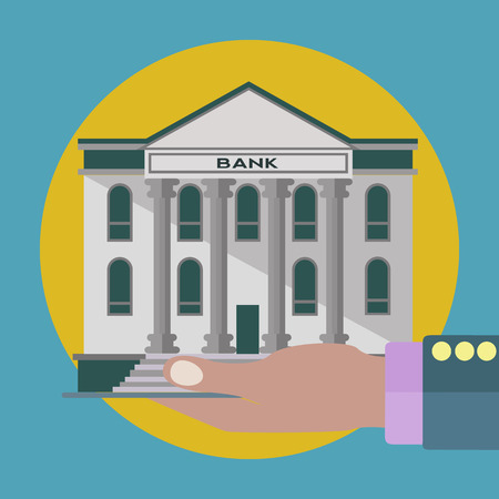 Bank in hand, investment and loan concept