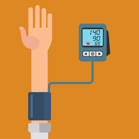 Digital device for measuring blood pressure, sphygmomanometer, high blood pressure vector concept Illustration