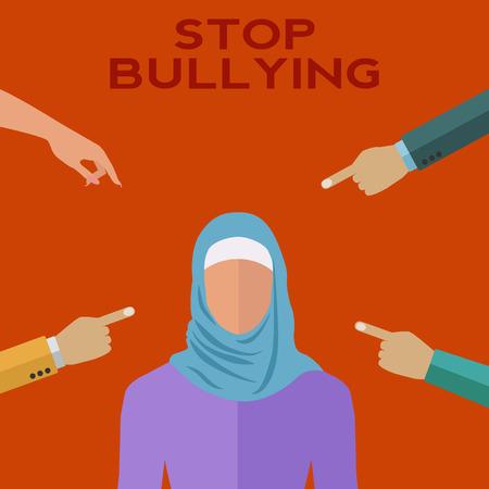 Les gens se moquaient d'une femme musulmane orientale illustration vectorielle milieu