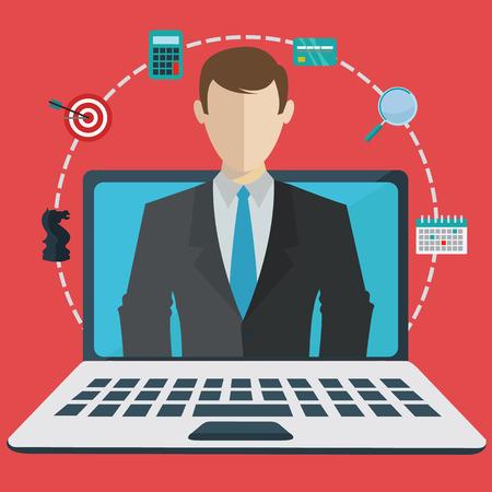 Digital business assisstant on a laptop, webinar vector concept