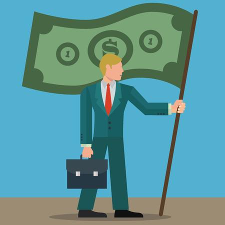 Businessman with money flag success vector concept
