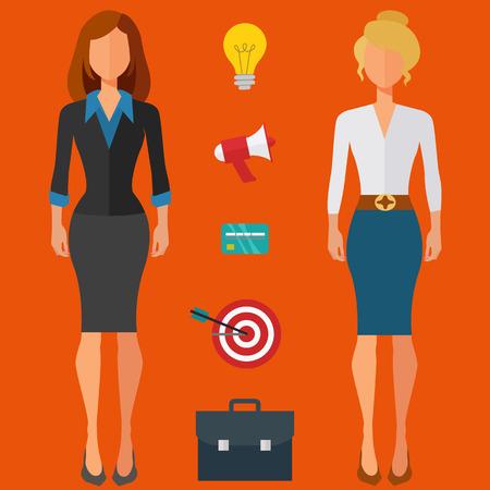 Businesswomen with business icons vector illustration Illusztráció