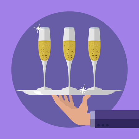 Waiter holding a serving tray with champagne flute glasses vector illustration
