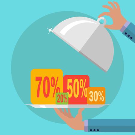 Presenting sales percentages on a serving platter vector concept Illustration