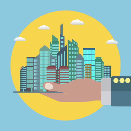 City in a palm of a hand of a businessman, real estate, successful business vector concept