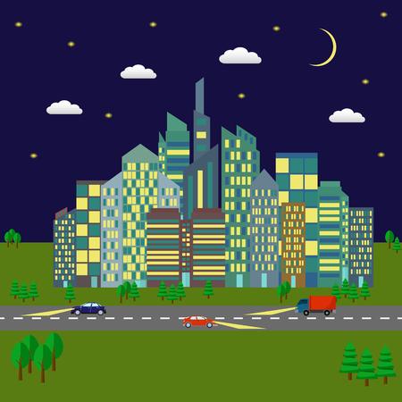 City at night vector illustration Illusztráció