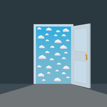 Open door in a dark room to the clouds opportunity vector concept