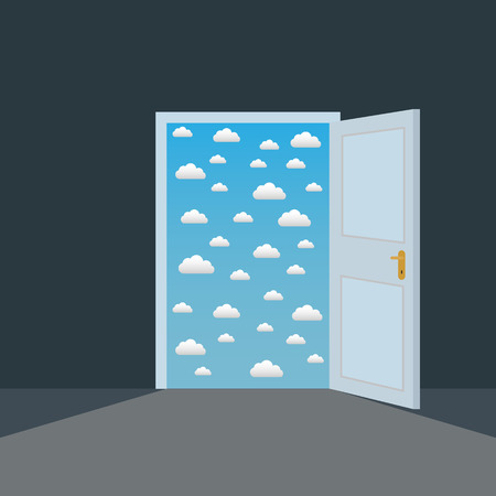 Open door in a dark room to the clouds opportunity vector concept