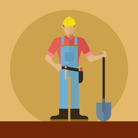 Construction worker with shovel vector illustration