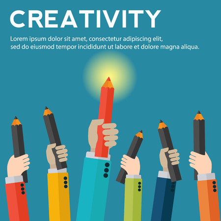 Hands holding pencils with creative work standing out vector concept