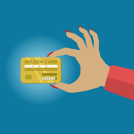 Woman holding a golden credit card vector concept Illusztráció