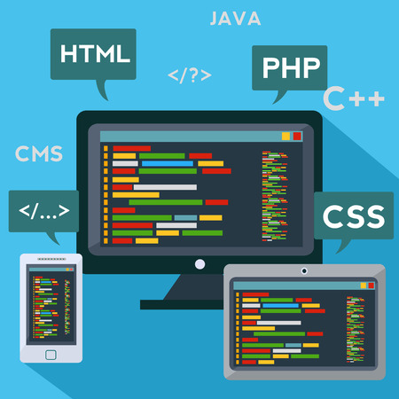 Multiple platforms code programming adaptive software vector concept Illustration