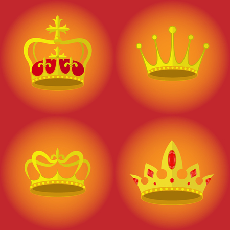 Set of crowns, royalty vector icons