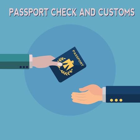 Passport check and customs vector concept Illusztráció