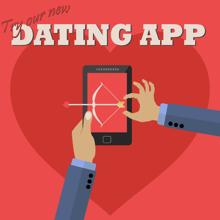 Man using dating app on mobile to shoot a love arrow vector concept