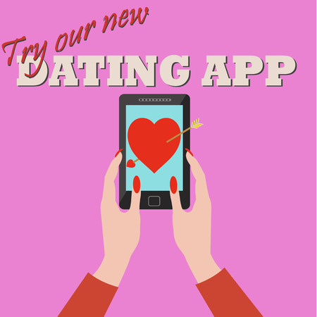 Woman using a dating app and falling in love vector concept