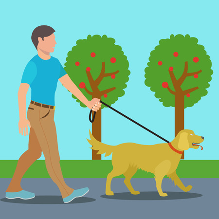 Man walking dog in park vector illustration Çizim