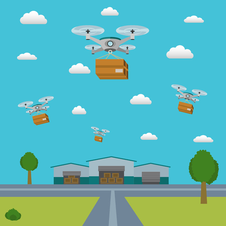 Delivery drones taking packages from the warehouse
