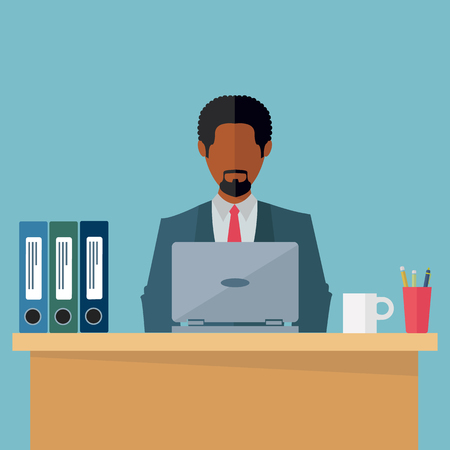 Ethnic black businessman working on laptop in office vector illustration Stock fotó - 74886589