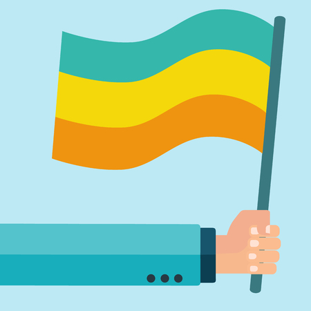 Hand holding a flag vector concept