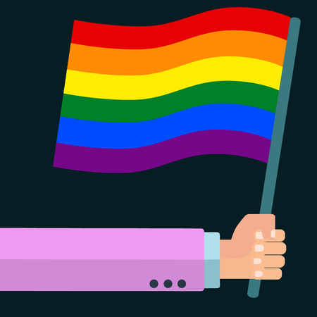 Holding a gay rainbow flag in hand gay pride vector concept