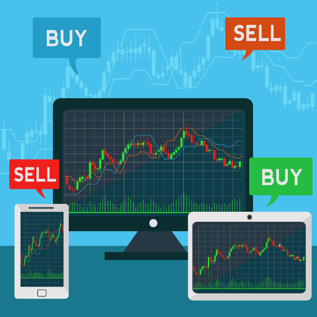 Forex trading japanese candles chart on a laptop, tablet and smartphone vector graph Çizim