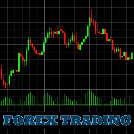 Forex trading japanese candles chart on a black background vector graph