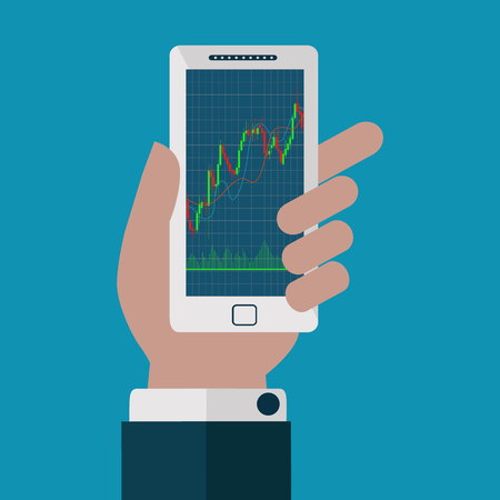 Forex trading japanese candles chart on a mobile phone vector graph Çizim