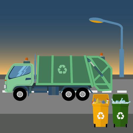 Reciclar el camión de basura tomando la basura al amanecer ilustración vectorial Foto de archivo - 74731862