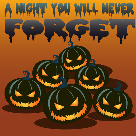 Halloween carved pumpkins in the dark vector backround Stock fotó - 74731867