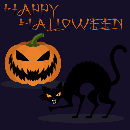 Halloween carved pumpkin and black cat vector backround Çizim